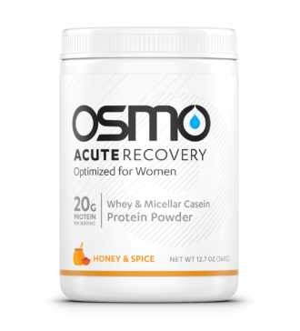 White colored tub of Honey and Spice flavored Osmo Acute Recovery Optimized for Women