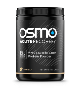 Black colored tub of vanilla flavored Osmo Acute Recovery