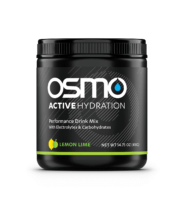 Black colored tub of Lemon Lime flavored Osmo Active Hydration