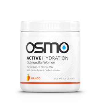 White colored tub of mango flavored Osmo Active Hydration Optimized for Women