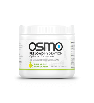 White colored tub of pineapple margarita flavored Osmo Preload Hydration Optimized for Women