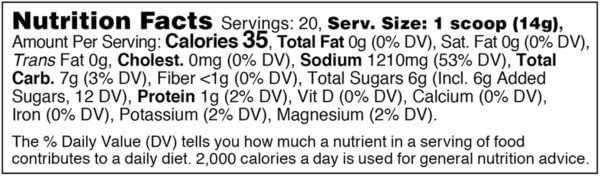 Nutrition facts label for tub of pineapple margarita preload hydration