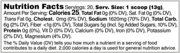 Nutrition facts label for tub of Pineapple Lemon Preload Hydration