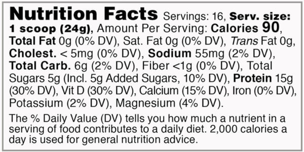 Nutrition facts label for tub of vanilla acute recovery