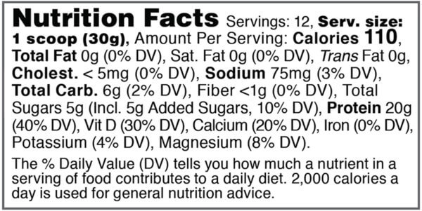 Nutrition facts label for tub of optimized for women honey and spice acute recovery