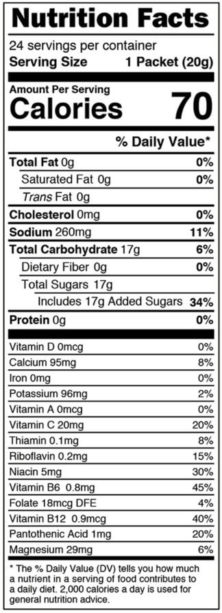 Nutrition facts label for box of Blackberry single serves