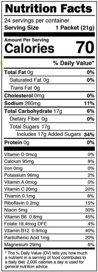 Nutrition facts label for box of Lemon Lime single serves