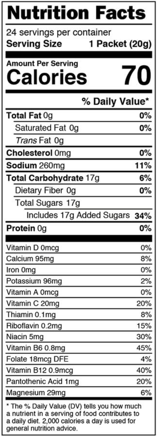 Nutrition facts label for box of Orange single serves