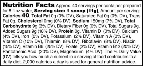 Nutrition facts label for tub of optimized for women mango active hydration