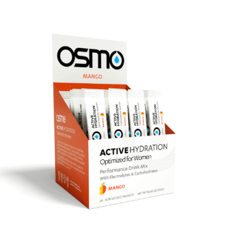 Orange and white colored box open to display Mango flavored single serving packets of Osmo Active Hydration Optimized for women
