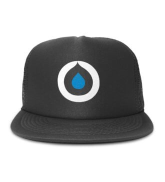 Front view of black Osmo trucker hat with Osmo