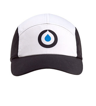 Front view of black and white Osmo runners hat