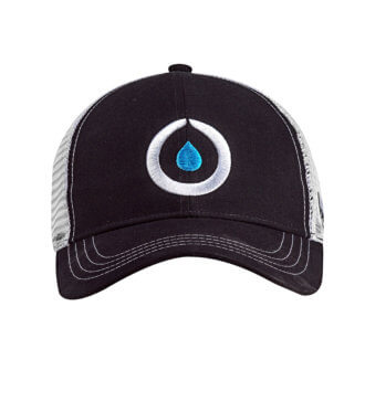 Front view of black technical trucker hat with white mesh and Osmo logo in center