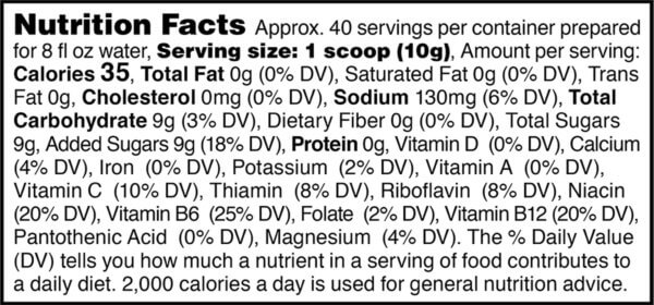 Nutrition facts label for tub of lemon lime active hydration