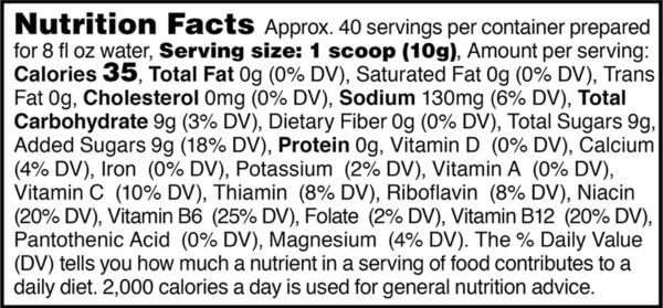 Nutrition facts label for tub of orange active hydration