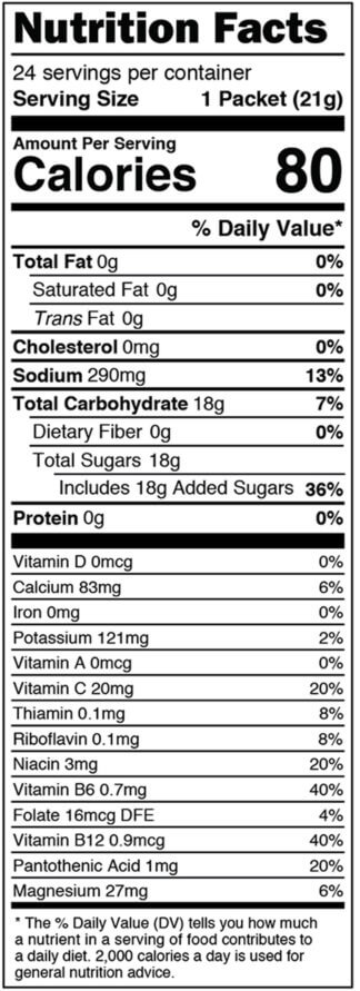 Nutrition facts label for box of optimized for women mango single serves